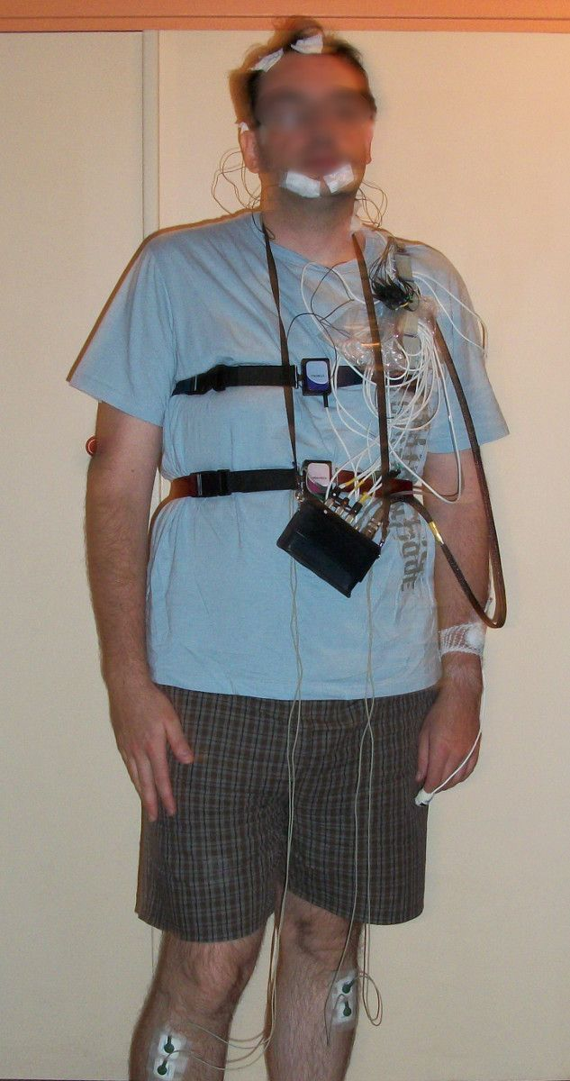Patient equipped for a sleep apnea diagnosis (polysomnography), ambulatory diagnosis (sleeping at home).