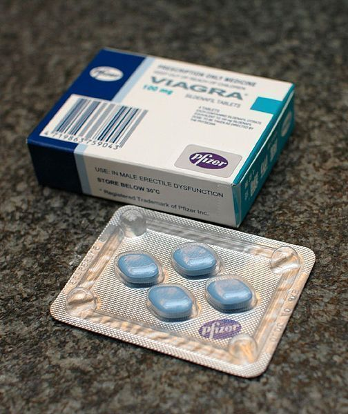 A package of the drug Sildenafil, sold under the name Viagra, an example of PDE5 inhibitors used in the treatment of ED.
