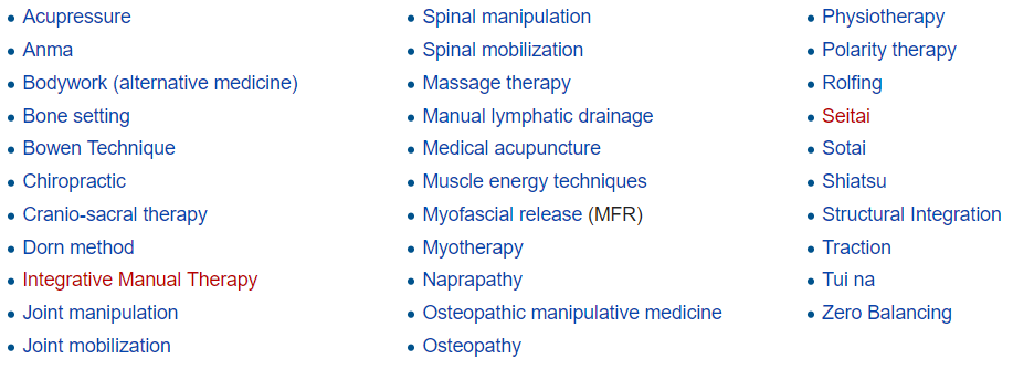 There are many different styles of manual therapy. It is a fundamental feature of ayurvedic medicine, traditional Chinese medicine and some forms of New Age alternative medicine as well as being used by mainstream medical practitioners.