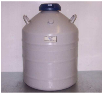 A liquid nitrogen holder used for freezing and storing cryopreserved oocytes.